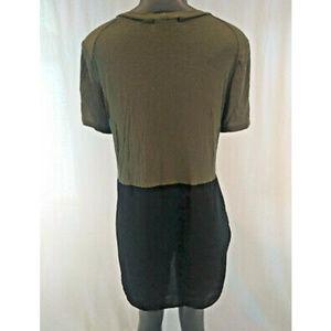 Lush Tops - Lush Tunic Top Medium Green Black Sheer Cotton